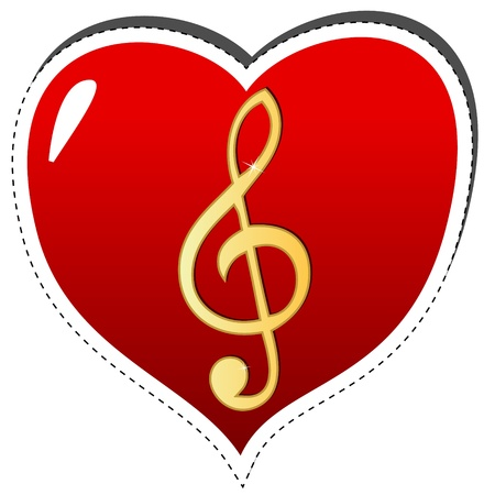 musically: Love music logo on a white background