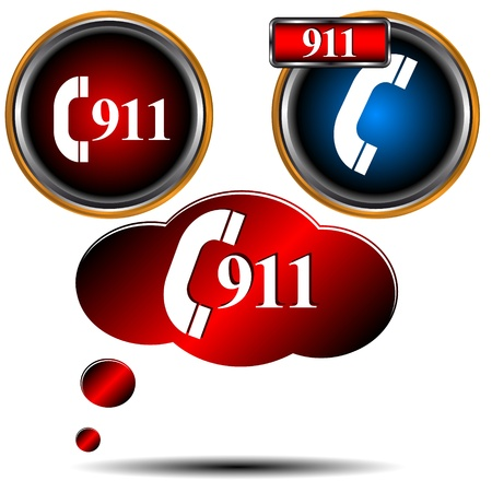 911 emergency icons on a white background Vector