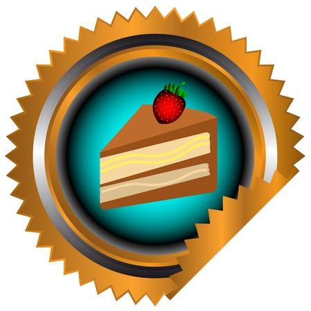 gateau: Icona di torta al cioccolato con panna e fragole