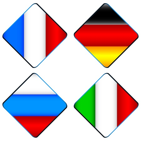 Four different flags in a unique style on a white background Stock Vector - 17744157