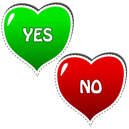 Two hearts yes and no on white background Vector