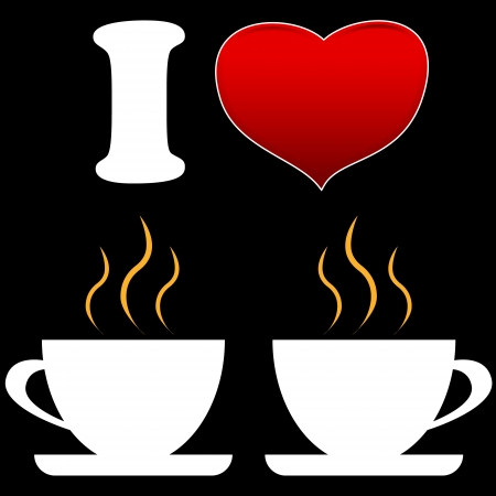 I love coffee logo in unique style Vector