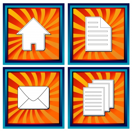 Four glossy web icons with symbols mail document documents and home Stock Vector - 17897274