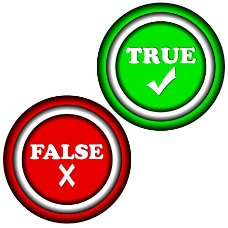 Buttons true and false on a white background Stock Vector - 17897265