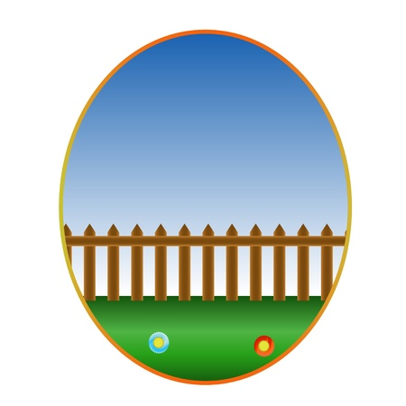 Symbol from a grass with a fence Stock Vector - 17897266