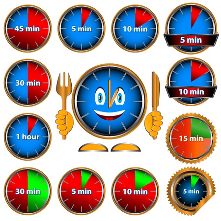 New clock set on a white background. Vector illustration. Vector