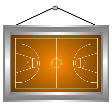 Basketball platform in a frame on a white background.  illustration Vector