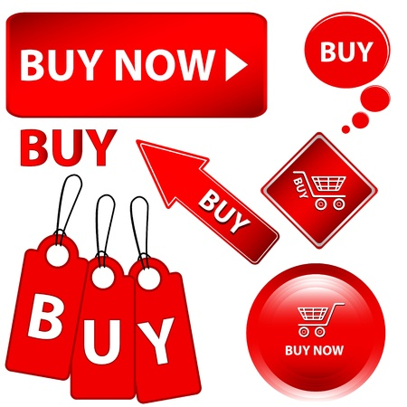 Red buy set on a white background.  Vector