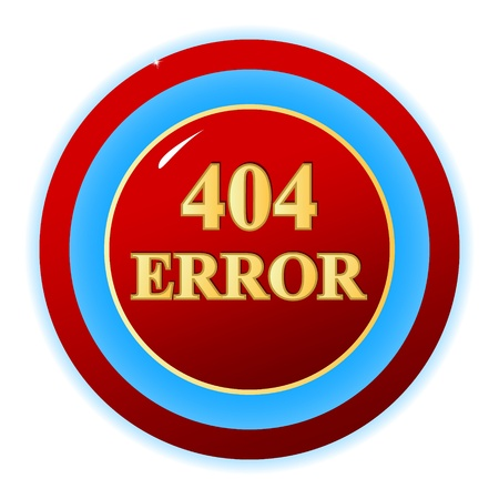 Red 404 error symbol on a white background.  Vector