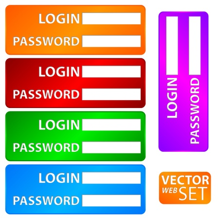 Form set login and password.  Vector