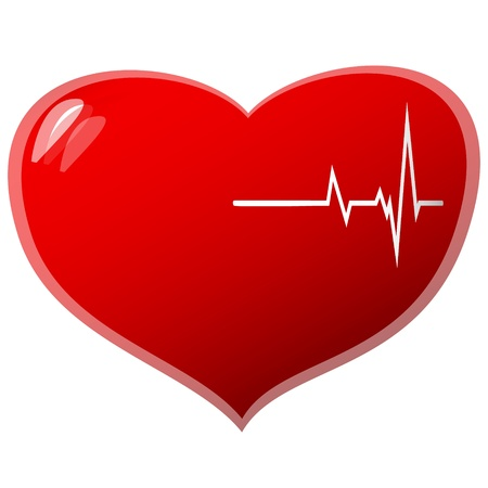 beating heart concept on a white background. Vector