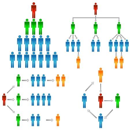 jerarquia: Estructura de negocios en un fondo blanco