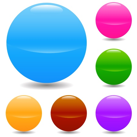 Set of glass spheres of different colors on a white background Vector