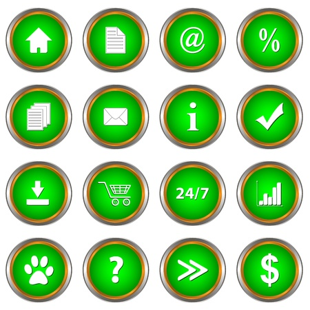 Set of green buttons on a white background Vector