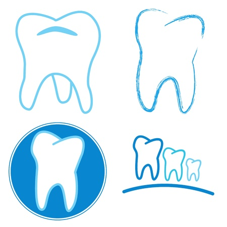 Icon set of teeth on a white background Vector