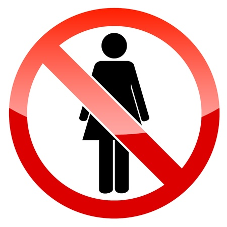 abstain: Sign no woman on a white background