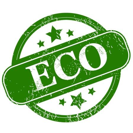Grunge eco icon on a white background Illustration
