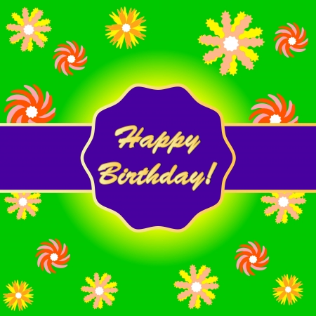 Happy birthday background with a variety of flowers Vector