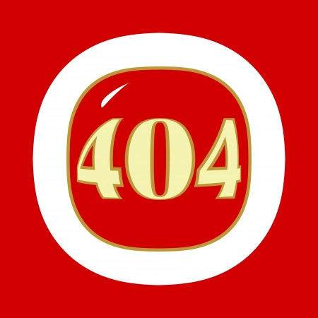 Red 404 error symbol in a unique style. Vector illustration Vector