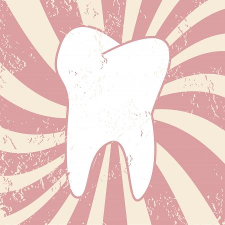 dientes sucios: Diente en un estilo grunge en un fondo �nico