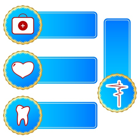 Blue medical set on a white background Vector