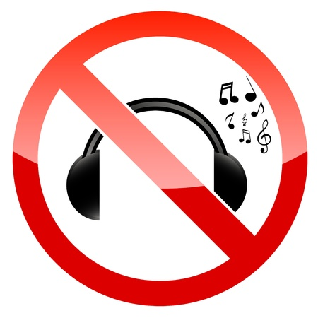 sign not to talk by phone: No music icon on a white background Illustration