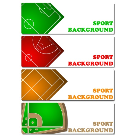 infield: Sport backgrounds set on a white background Illustration
