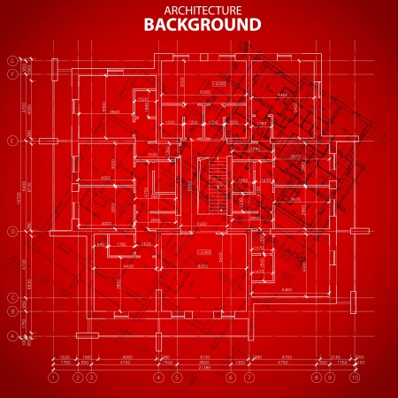 Red architectural background in unique style. Vector illustration Vector