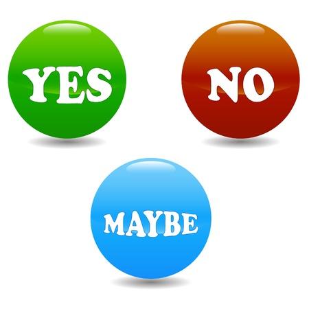möglicherweise: Ja Nein und vielleicht auf einem wei�en Hintergrund