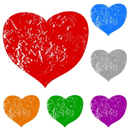 Grunge hearts set on a white background Vector