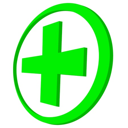 New green cross on a white background