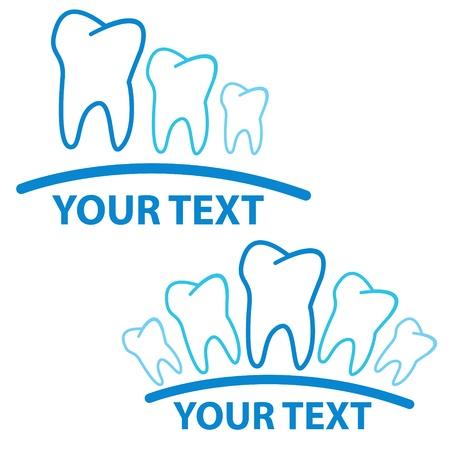 白い背景の上の歯を持つ 2 つの医療の兆候
