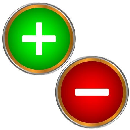 Botones más y menos sobre un fondo blanco