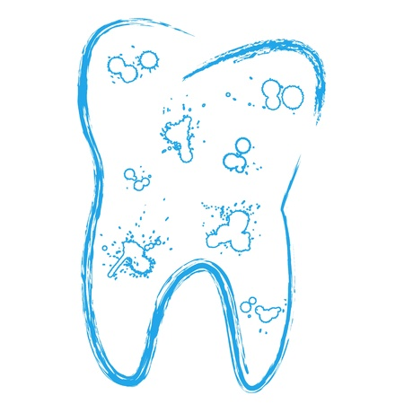 The symbol of the tooth with caries in a grunge style Vector