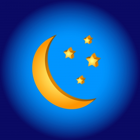 3D moon symbol on a blue background Vector