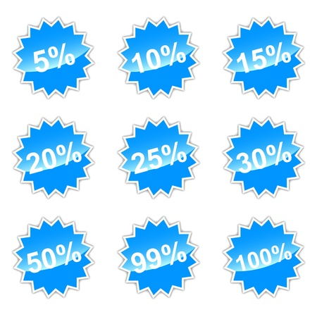 off balance: Blue set of icons with percent for your design