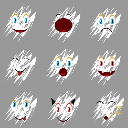 Nine faces located on a dark backround Vector