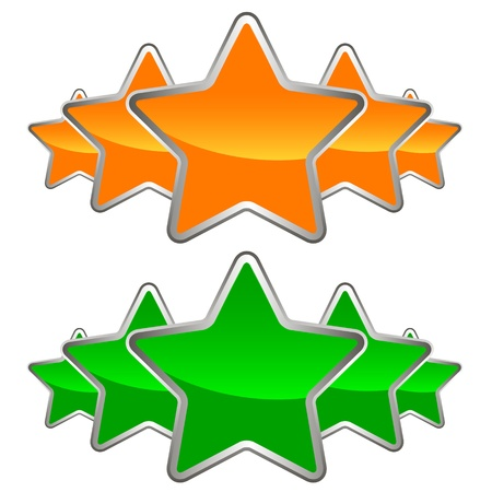 Two sets of stars on a white background Stock Vector - 20342557