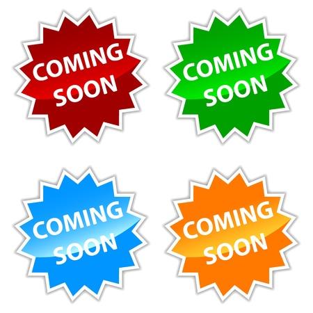 Neue Videos demnächst Etiketten auf einem weißen Hintergrund Standard-Bild - 20850384