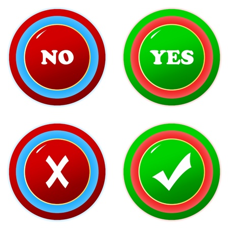 Buttons yes and no on a white background