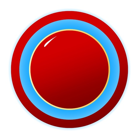 New red button isolated on white background Vector