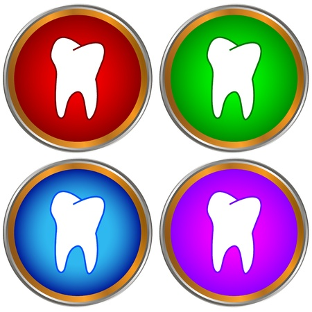 Tooth icons set on a white background Vector