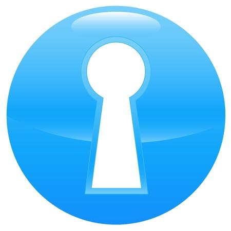 latchkey: Keyhole blue icon on a white background Illustration