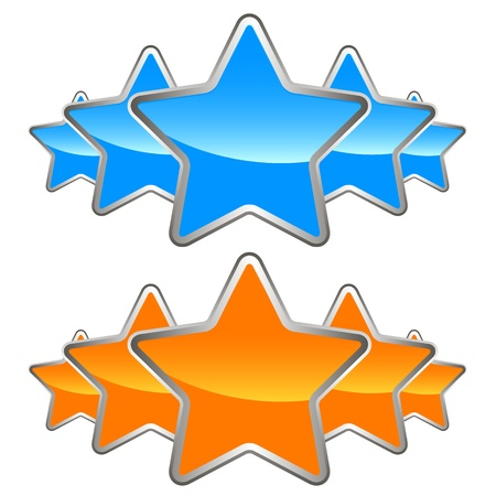 Two sets of stars on a white background Vector