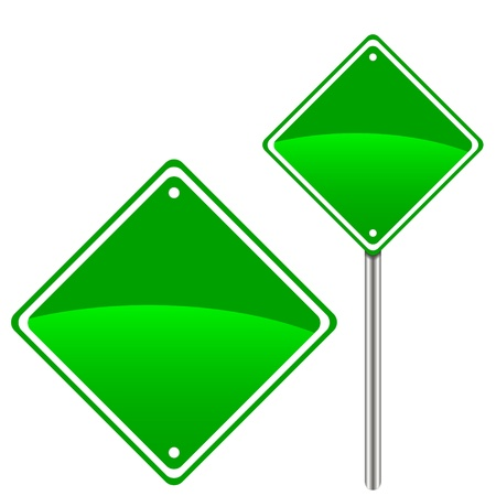 Two green road signs for your design Vector