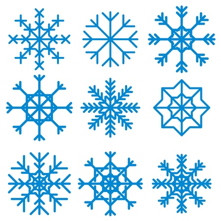 New snowflake set on a white background. Vector illustration