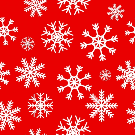 replicate: White snowflakes on red background seamless pattern for continuous replicate. Illustration