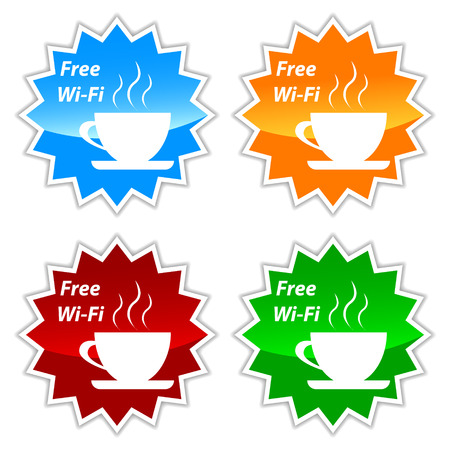 wi: Free wi-fi vector labels set on a white background