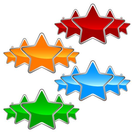 Big set of stars on a white background