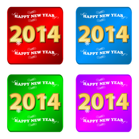 Happy new year 2014 icons set on a white background Vector